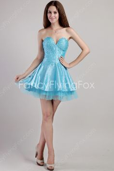 Mini Length Blue Satin A-line Cocktail Dresses With Heavy Beads