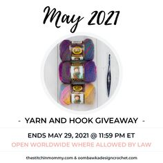 2021 May Yarn And Hook Giveaway Our 2021 May Yarn and Hook prize pack includes a beautiful Furls Streamline Swirl Pisces Crochet Hook and 3 skeins of Lion Brand Amazing Yarn. Giveaway ends May 29, 2021 at 11:59 pm ET. Giveaway not affiliated with Facebook, Instagram or Pinterest. Crochet Round, Crochet Yarn, Crochet Hooks, Lion Brand, Photo Tutorial, Pisces, Free Pattern, Crochet Patterns, Facebook Instagram