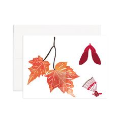 Red Maple Greeting Card Printed on 100% recycled paper. Blank inside, perfect for any occasion.