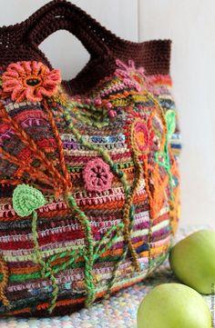 Crochet bag | Купить Сумка Деревенская - коричневый, в полоску, сумка, сумка ручной работы, вязаная сумка, кантри