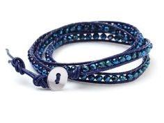 Beautiful Manmade 4mm Deep Blue Crystal Beads Hand-Knotted on Blue Leather Cord Wrap Bracelet: Amazon.co.uk: Jewellery