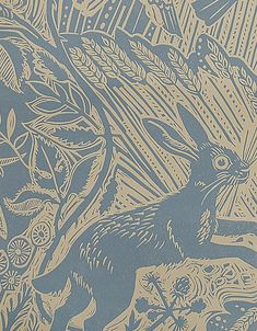 Harvest Hare Wallpaper Excellent lino print wallpaper with Mark Hearld rabbit and bird design in lead blue.