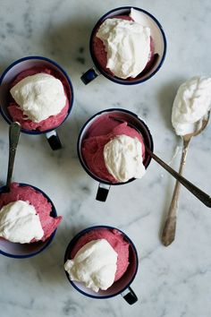 gin and rhubarb sorbet with rose cream