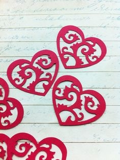 12 Rosy Red Lace Heart Punch Die Cut Embellishments by naissance, $0.95