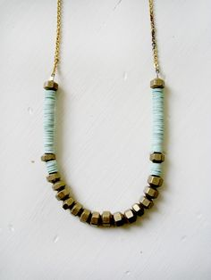 RESERVED Mint brass necklace par KimDulaney sur Etsy
