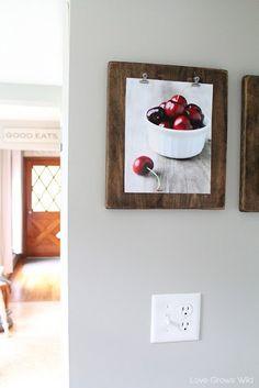 DIY picture frame - hinge clips - blankhouten plank met blackwash