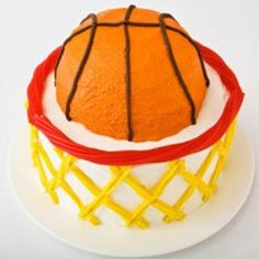 Sweet! How to make a basketball with hoop birthday cake with Twizzlers. Easy, step-by-step recipe, diagrams and pictures