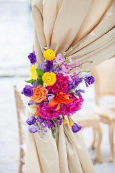 St. Petersburg Wedding Ceremony Floral Decor with Pink, Orange, Purple, and Yellow Flowers | St. Petersburg Wedding Florist Iza