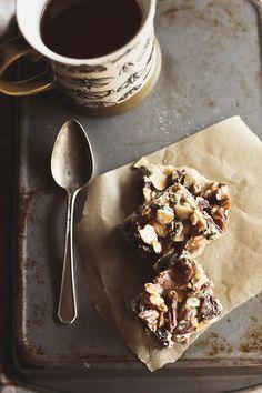 nut caramel bars w/ dried cherries • honey & jam