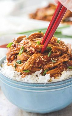 "Who doesn't love a good Chinese chicken ""takeout"" recipe you can make at home? LOVE this Sesame Chicken recipe. It's one of the best chicken recipes to make in the slow cooker."