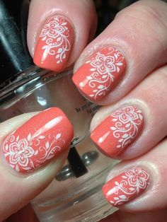 Floral stamping nail art using Pahlish Test Batch: Canyon Sunrise, using FunkyFingers Gesso Source by andreadzurova - Fancy Nails, Cute Nails, My Nails, Fingernail Designs, Nail Art Designs, Watermelon Nails, Stamping Nail Art, Nail Stamping Designs, Girls Nails