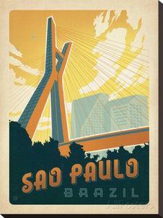 Sao Paulo, Brazil Impressão em tela esticada por Anderson Design Group na AllPosters.com.br