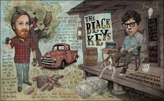 The Black Keys - The Boys With The Broken Halos by Travis Braun, via Behance Persona, Tour Posters, Music Posters, Vampire Weekend, Boy Face, The Black Keys, Sound Waves, Graphic Design Illustration, Graphic Art
