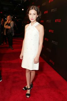 Millie Bobby Brown rocks a Miu Miu dress and studded heels at a Netflix/FYSee event in June 2017. #milliebobbybrown #miumiu #redcarpet #strangerthings #celebrity Event Pictures, Studded Heels, Millie Bobby Brown, Brown Fashion, Red Carpet Looks, Star Fashion, Stranger Things, Special Events, Fashion Forward
