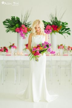 Modern-Tropics Wedding - Styled Shoot - Modern Tropical Wedding - Brides of North Texas - Modern Tropical Bouquet - Bridal Bouquet - Modern Wedding Dress