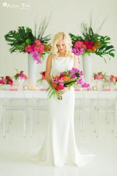 Modern-Tropics Wedding - Styled Shoot - Modern Tropical Wedding - Brides of North Texas - Modern Tropical Bouquet - Bridal Bouquet - Modern Wedding Dress