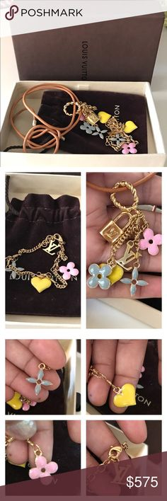 Louis vuitton braclet and pendant set. Pre-owned 100 % Louis Vuitton Multicolor Sweet Monogram Charm Bracelet and pendant set. In great condition. Braclet measurement 7.5 long. Comes with one pouch. And box.  Please check all the pictures before purchasing. Louis Vuitton Jewelry Bracelets