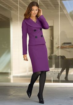 Purple Skirt Suit Black Pantyhose and Black High Heels