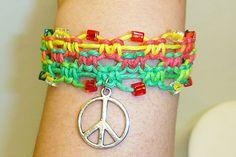 Ganja Rasta Peace Sign Beaded  Hemp Bracelet by sherrishempdesigns