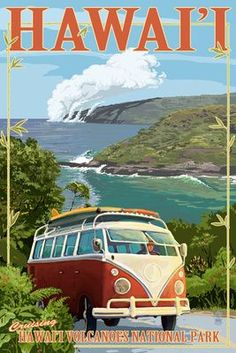VW Van - Hawaii Volcanoes National Park - Lantern Press Poster