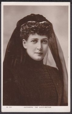 Alexandra (1844-1925), the Queen-mother in mourning veil. Her husband King Edward VII died in 1910.