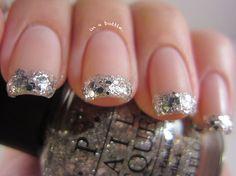 silver glitter french manicure