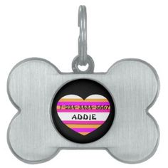 #stripes - #PINK  DOG BONE PET TAG WITH STRIPES