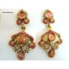 Kundan Earrings Pink-Rajasthani Jewellery - Online Shopping for Earrings by Store Utsav