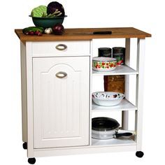 Venture Horizon Butcher Block Top Kitchen Cart With Trash Bin