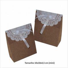 Sacola kraft mini com papel rendado
