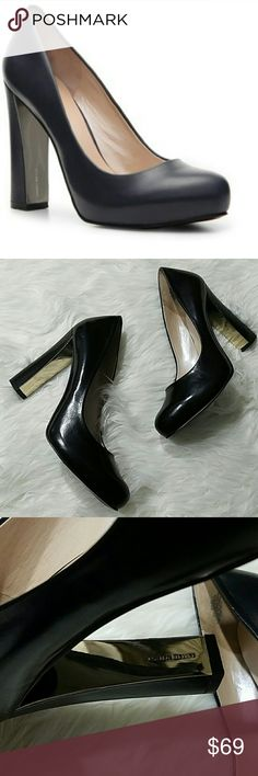 Nine West Desired Black Leather Block Heels New without box.  Gorgeous!! Metallic backing on heel.  4.25 inch heel.   .5 inch platform.  LB Nine West Shoes Heels