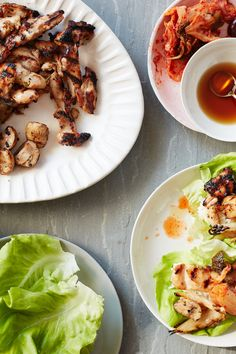 NYT Cooking: The savory Korean bulgogi marinade in this recipe is made with pantry items and livens up just about anything you put it on. Here, the soy-scallion-ginger marinade is used on boneless, skinless chicken thighs, but it can also be brushed on tofu, zucchini or bell peppers for a satisfying vegetarian meal. As the meat cooks, the marinade caramelizes into a sweet-salty sticky glaze that coats the c... Lettuce Wrap Recipes, Lettuce Wraps, Vegetarian Recipes, Cooking Recipes, Healthy Recipes, Healthy Food, Stuffed Mushrooms, Stuffed Peppers, Asian Recipes