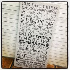 Gallery Wrapped Canvas Family Rules by JulianRyceCreations on Etsy, $120.00
