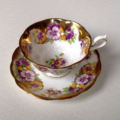 Royal Albert Pansy Treasure Chest Series Vintage Teacup and Saucer Antique Tea Cup Set by VintageTeacupShop on Etsy https://www.etsy.com/listing/233219020/royal-albert-pansy-treasure-chest-series