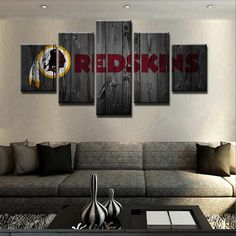 Washington Redskins NFL Football 5 Panel Canvas Wall Art Home Decor