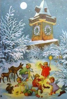 Christmas Glitter, Vintage Christmas, Christmas Cards, Xmas, Hallmark Cards, Paint Techniques, Christmas Illustration, Holidays And Events, Folk