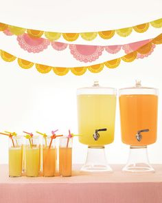 """Champagne doesn't have to be the only bubbly at your wedding. These lemon and grapefruit sodas are delightfully refreshing, and they're also a cinch to make. Simmering the fruit zest in simple syrup is the secret: One sip, and you'll never go back to store-bought again. Serve the drinks with knotted """"bendy"""" straws (don't worry -- they'll work just fine). For a display that's as festive as the drinks, hang a banner of doily """"flags"""" in coordinating colors, fold doilies in half, and glue them…"""