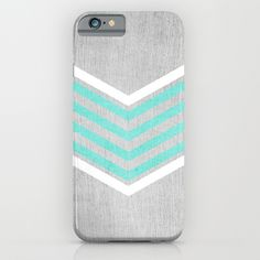 Teal and White Chevron on Silver Grey Wood iPhone & iPod Case by Tangerine-Tane - $35.00