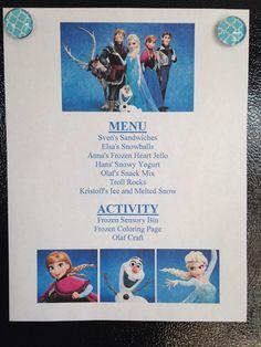 Frozen Menu - Frozen Movie Night - Disney Movie Night - Family Movie Night