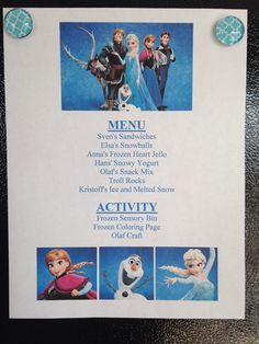 Frozen Menu - Frozen Movie Night - Disney Movie Night - Family Movie Night