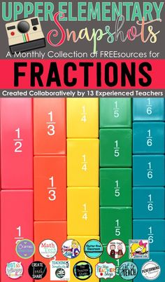 Free math resources covering FRACTIONS created by the teachers at Upper Elementary Snapshots. Math resources covering fraction concepts for and grade. by janelle Math Strategies, Math Resources, Math Activities, Math Tips, Fraction Activities, Math Worksheets, Math Games, Elementary Math, Upper Elementary
