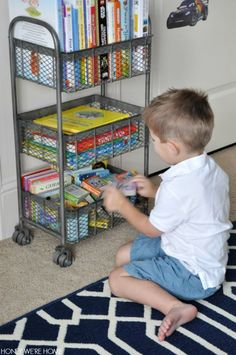 Would also be good as craft cart, office cart, etc . - World Market Zinc Oliver Rolling Cart makes a cute bookshelf! Boys Room Decor, Kids Bedroom, Bedroom Ideas, Gym Showers, Back To School Kids, Creative Storage, Toy Rooms, Kid Spaces, Garage