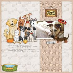 Dog scrapbook layout created with digital scrapbooking kits from Kate Hadfield Designs - fun ideas for scrapbooking your pets from the Creative Team!