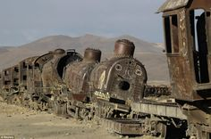Old locomotives are seen in a train cemetery in Uyuni, near a salt flat some 290 miles south of La Paz.