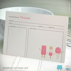 """Cool Friends"" Personalized Recipe Cards {#283} 