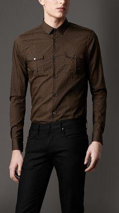 Slim Fit Geometric Print Military Shirt | Burberry