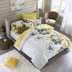 Allison Full Queen Size Four Piece Yellow Polyester Comforter Set Full Queen | eBay $75.69