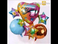 Vier Sterne und ein bunter Herzballon überbringen dem Geburtstagskind die Glückwünsche. Zwei farblich passende Ballongrüße schweben zusätzlich aus dem Karton und die Überraschung ist perfekt.