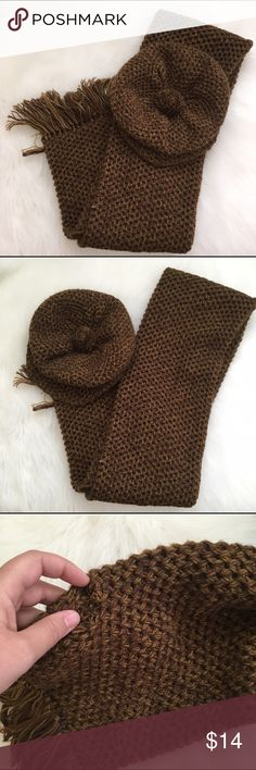 Brown Knit Scarf & Burea Set - scarf Flawed Please read! Scarf has a rather big snag on one side- it can still be worn without showing the flaw - or can put a big pin or pin collection over it. The hat is in perfect condition- the set is soft, not pilling- and a lovely brown combo. Smoke & must free. Hat is stretchy- can fit oversized or snug Vintage Accessories Scarves & Wraps