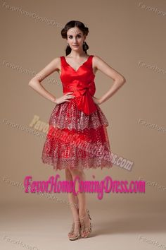 Buy new v neck knee length red trendy holiday dress with bowknot from plus  size holiday dresses collection 00284e687b81